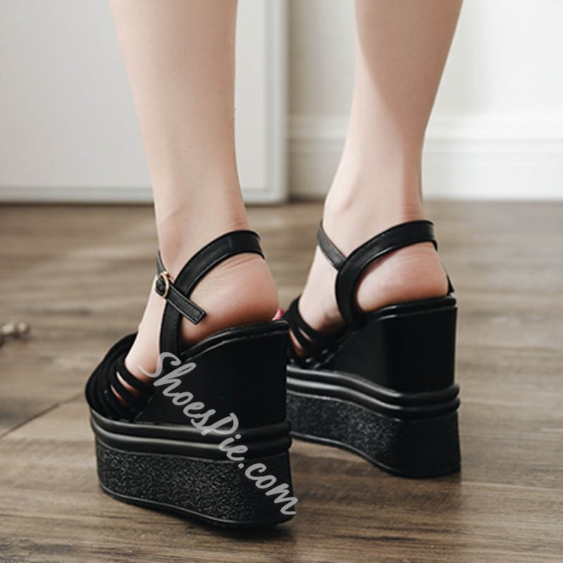 Shoespie Sexy Black Ankle Strap Buckle Wedge Sandals