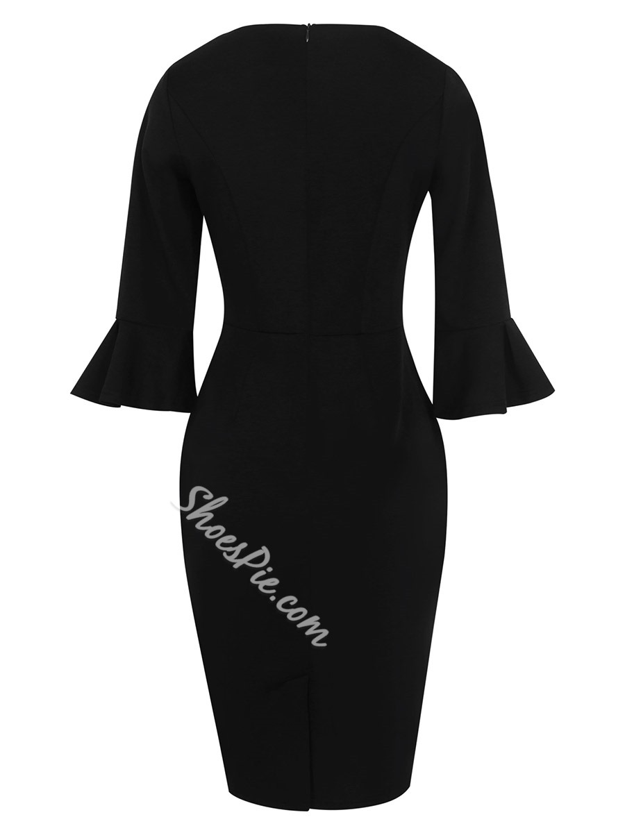 Shoespie Plain Round Neck Flare Women's Bodycon Dress