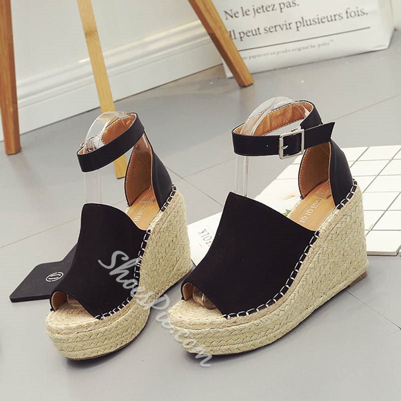 Shoespie Line-Style Buckle Peep Toe Wedge Sandals