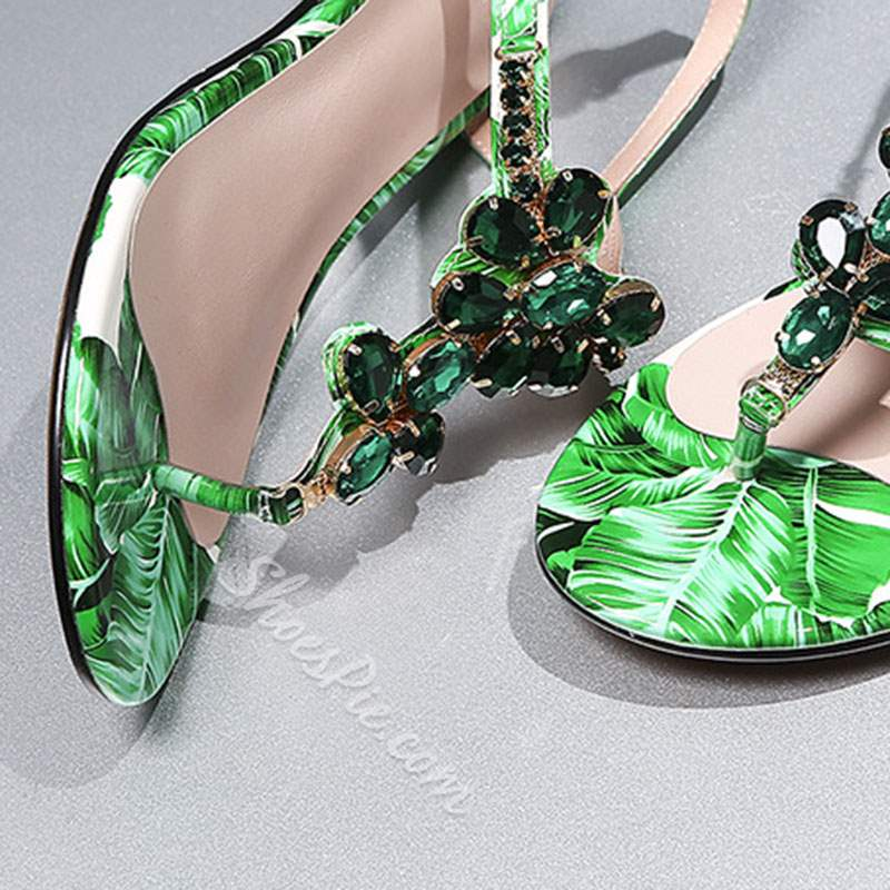 Shoespie Green Rhinestone Thong Slide Sandals