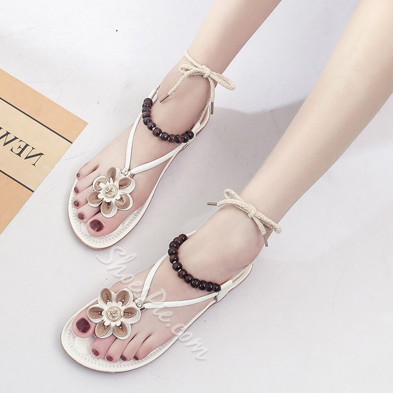 Shoespie Appliques & Beads Lace-Up Slide Sandals