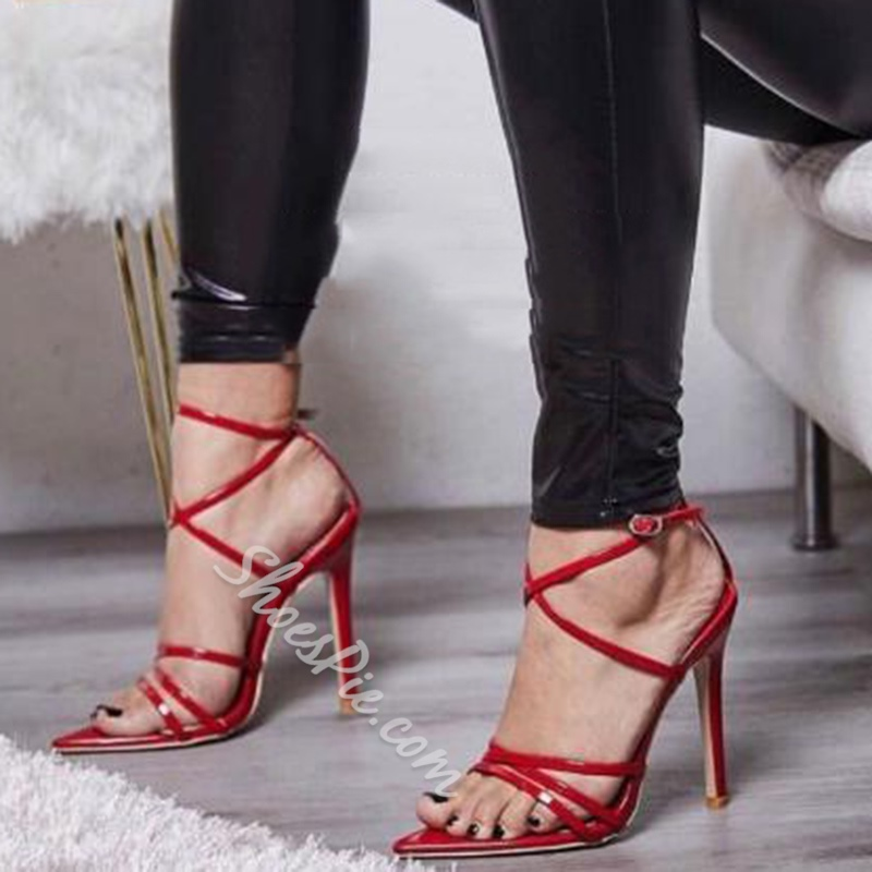Shoespie Awesome Open Toe Buckle Stiletto Heels