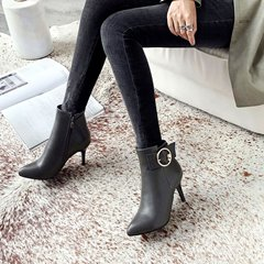 Bead Buckle Side Zipper Pointed Toe Ankle Boots