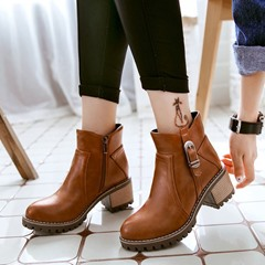 Buckle Side Zipper Round Toe Casual Ankle Boots
