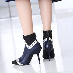 Rivet Color Block Pointed Toe Stiletto Ankle Boots