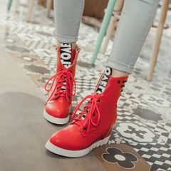 Rivet Lace-Up Hidden Elevator Heel Martin Boots