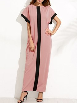 Shoespie Straight Color Block Women's Maxi Dress