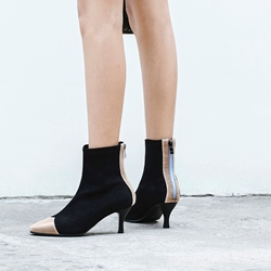 Shoespie Patchwork Square Toe Ankle Boots