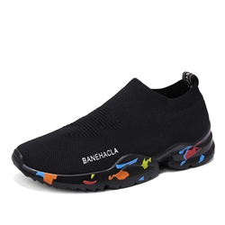 Shoespie Plain Slip-On Mesh Black Athletic Shoes
