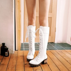 Lace-Up Front Casual Platform Knee High Boots
