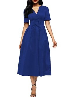Shoespie Elegant V Neck Bow Women's A-Line Dress