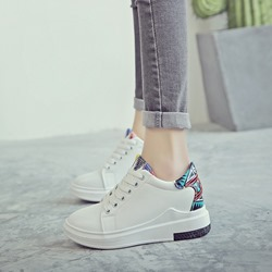 Shoespie Print Casual Round Toe Wedge Sneakers