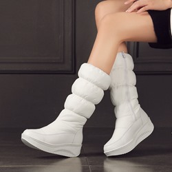 Platform Round Toe Side Zipper Snow Boots