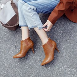 Shoespie Plain Pointed Toe Ankle Boots