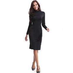Shoespie Stand Collar Hollow Office Lady Women's Bodycon Dress