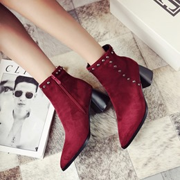 Rivet Casual Pointed Toe Ankle Boots