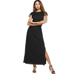 Shoespie Pleated Lace-Up Split Women's Maxi Dress