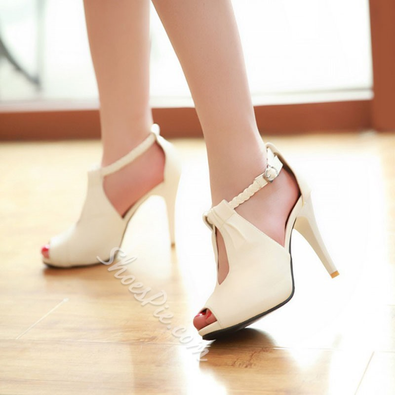 Buckle Casual Peep Toe Stiletto Heels