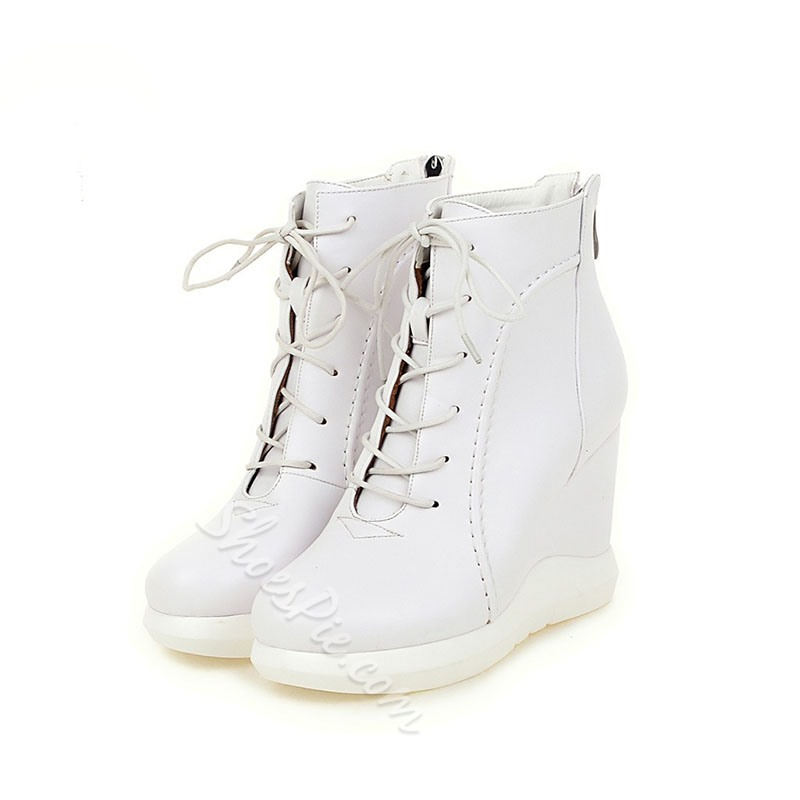 Shoespie Platform Back Zip Lace Up Wedge Heel Fashion Boots