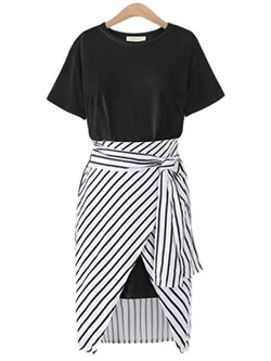 Shoespie Stripe Two-Piece Suit Women's Casual Dress
