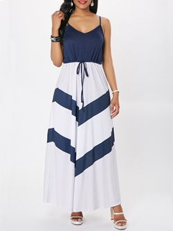 Shoespie Color Block Lace-Up Women's Maxi Dress