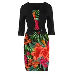 Shoespie Patchwork Print Office Lady Women's Bodycon Dress