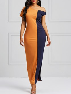 Shoespie Color Block Pullover Sexy Women's Maxi Dress