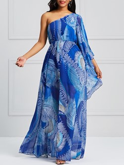 Shoespie Backless Print Patchwork Women's Maxi Dress