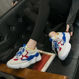 Color Block Round Toe Mesh Casual Women's Sneakers