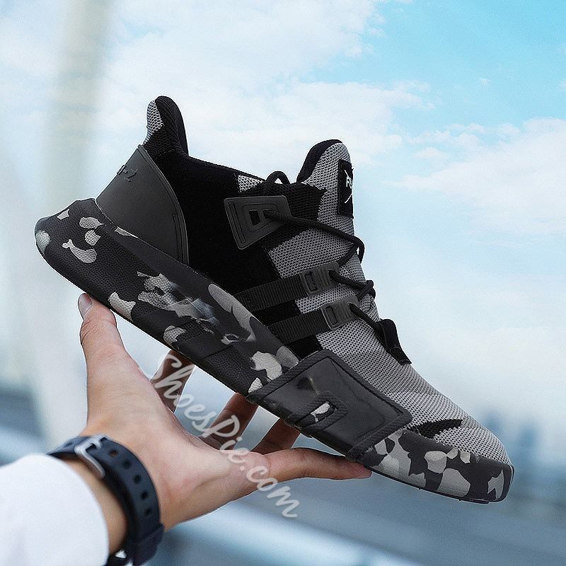 Shoespie Camouflage Round Toe Mesh Sneakers