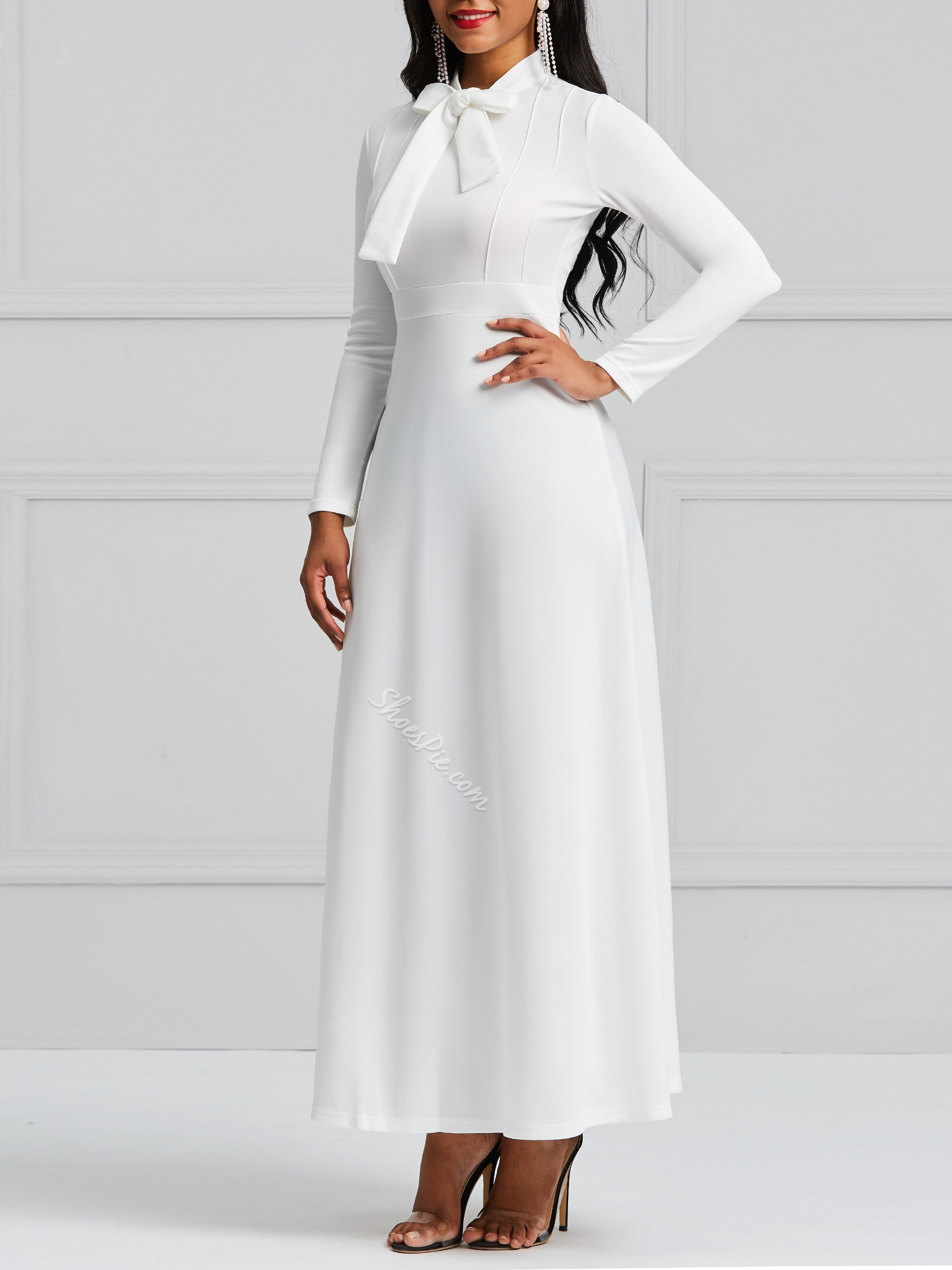 Shoespie Polo Neck Bowknot Sweet Women's Maxi Dress