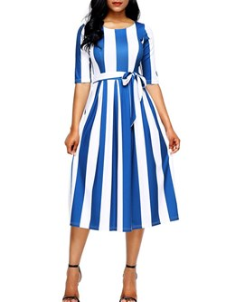 Shoespie Round Neck Belt Stripe Women's Maxi Dress