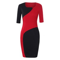 Shoespie Patchwork Office Lady Fall Women's Bodycon Dress