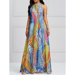 Shoespie Pullover Geometric Print Women's Maxi Dress