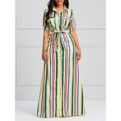 Shoespie Color Block Button Pocket Women's Maxi Dress