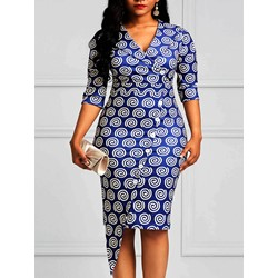Geometric Button Women's Bodycon Dress