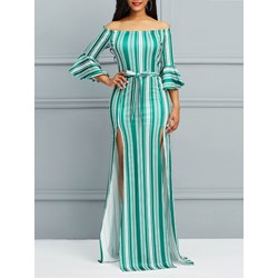 Shoespie Flare Sleeve Color Block Women's Maxi Dress