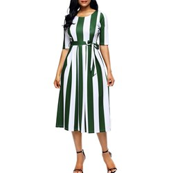 Shoespie Round Neck Belt Bowknot Women's Maxi Dress