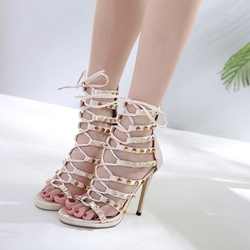 Shoespie Light Apricot Open Toe Lace-Up Stiletto Heels