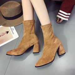 Shoespie Pointed Toe High Heel Ankle Boots