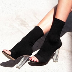 Shoespie Hollow Peep Toe Black Ankle Boots