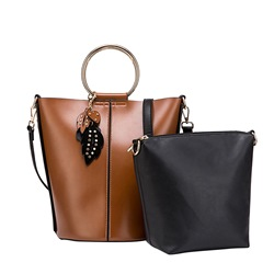 Shoespie Barrel Shaped Magnetic Snap Women Bag Set