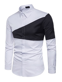 Casual Lapel Patchwork Slim Single-Breasted Shirt