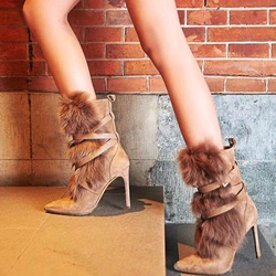 Shoespie Buckle Khaki Pointed Toe Ankle Boots