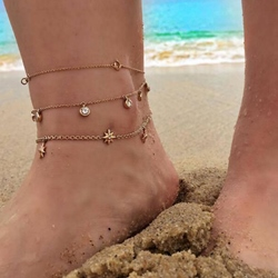 Star Shape Three Row Alloy Anklets