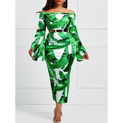 Shoespie Flare Sleeve Plant Print Women's Maxi Dress