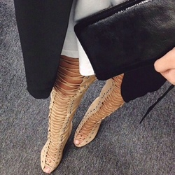 Shoespie Cross Strap Peep Toe Thigh High Boots