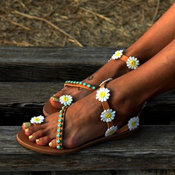 Shoespie Appliques Apricot Toe Ring Flat Sandals