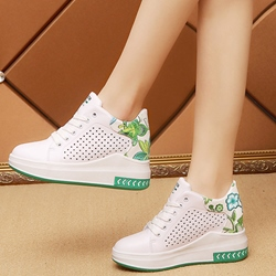 Shoespie Hollow Print Round Toe Wedge Sneakers