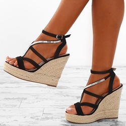 Shoespie Rhinestone Open Toe Wedge Sandals